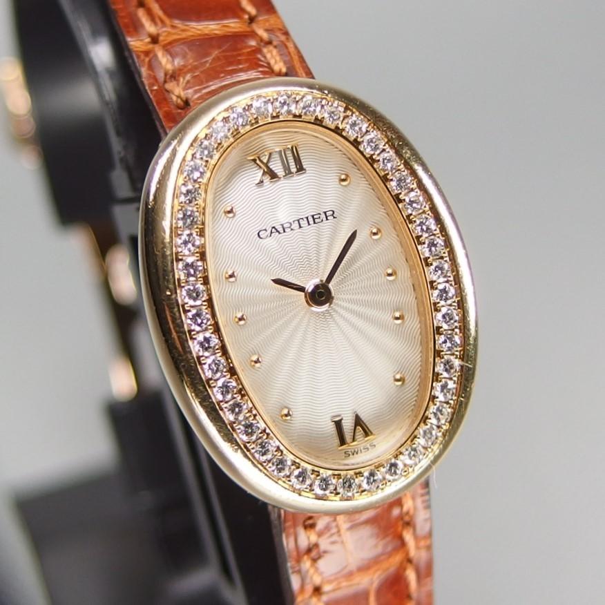 【超希少 純正ダイヤベゼル YGケース コンプリート済】Cartier Mini BAIGNOIRE ミニ ベニュワール QZ レディース 腕時計 修理証明書付_画像3