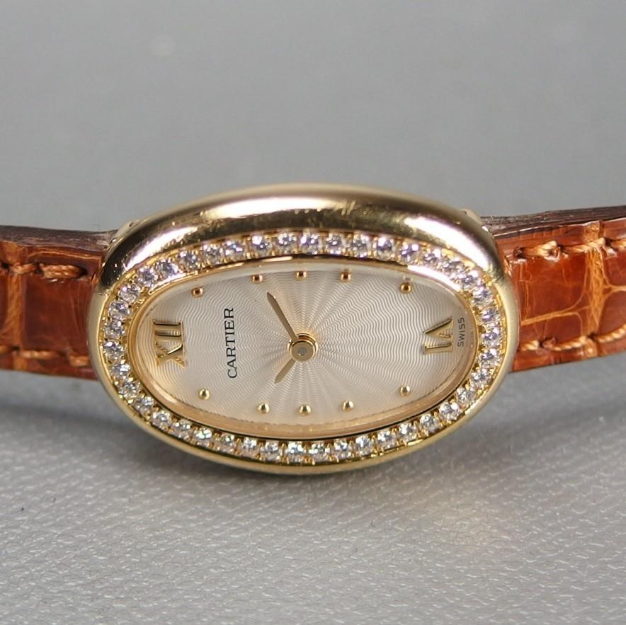 【超希少 純正ダイヤベゼル YGケース コンプリート済】Cartier Mini BAIGNOIRE ミニ ベニュワール QZ レディース 腕時計 修理証明書付_画像5