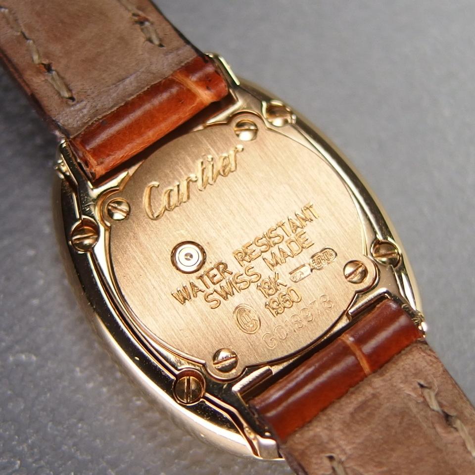 【超希少 純正ダイヤベゼル YGケース コンプリート済】Cartier Mini BAIGNOIRE ミニ ベニュワール QZ レディース 腕時計 修理証明書付_プッシュ式QZ 裏蓋刻印あり