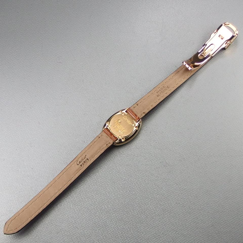 【超希少 純正ダイヤベゼル YGケース コンプリート済】Cartier Mini BAIGNOIRE ミニ ベニュワール QZ レディース 腕時計 修理証明書付_画像6