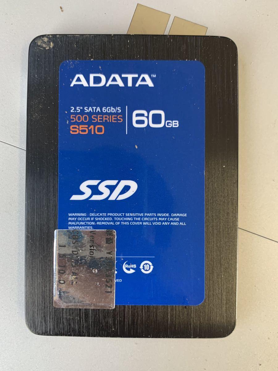 送料無料 ADATA SSD 2.5インチ SATA 6Gb/s 500 SERIES 60GB S510 使用時間32h