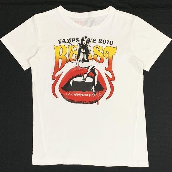 状態良好 VAMPS LIVE BEAST 2010 半袖Tシャツ ホワイト 白 Lサイズ ラルクアンシエル HYDE Oblivion dust KAZ