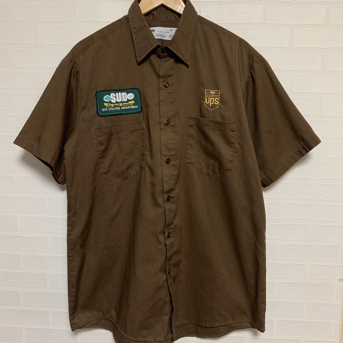USA製 CINTAS チンタス 刺繍 ワッペン ワークシャツ ブラウン L