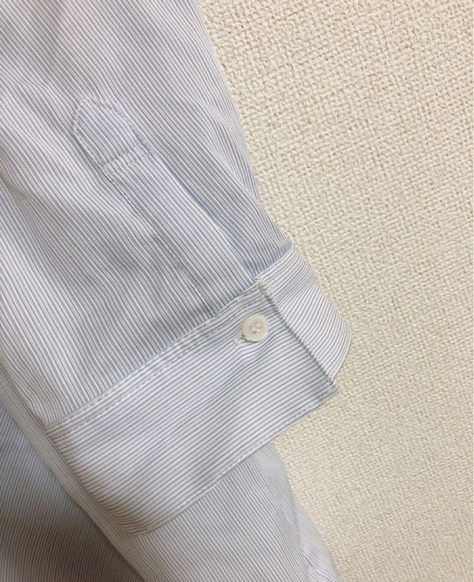 シャツ ブラウス ストライプ 水色 5L 19号