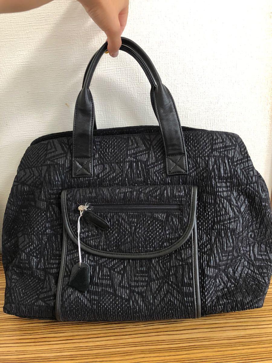 〈美品〉牛本革レザーバッグ 黒鞄 シンプルレザー 大きめバッグ ハンドバッグ