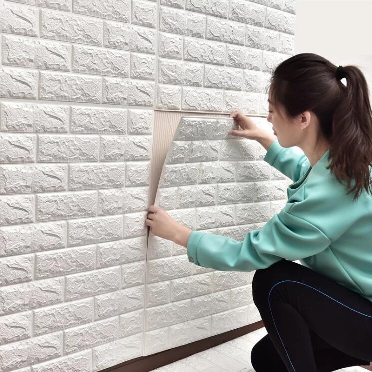人気美品☆★20枚 70cm×77cm 厚さ2.5mm 背景壁 3D立体レンガ模様壁紙 防水 汚い防止 カビ防止 エコ素材
