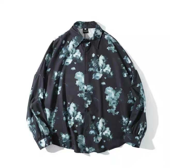 メンズ シャツ 柄シャツ 薔薇 バラ 総柄 オーバーサイズ 大きめ 新品未使用