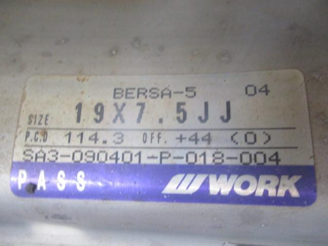 ◆19インチ / WORK ベリサリオ / 19X7.5J+44 / 5H / PCD 114.3 / 4本 / 中古 / 社外アルミホイール / ワーク _画像2