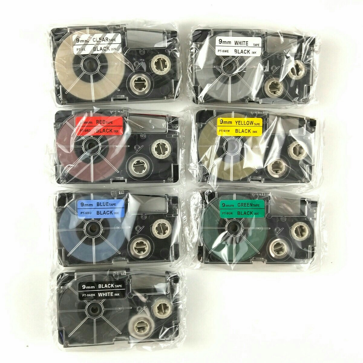 カシオ 9mm幅X8m巻 ・7色選択可 ネームランド 互換テープ 5個