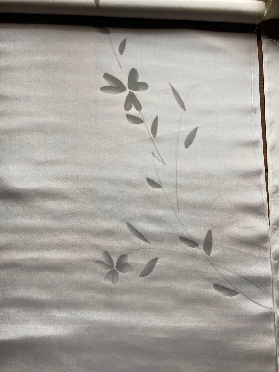 シルク薄手 正絹 白地花柄 147cm