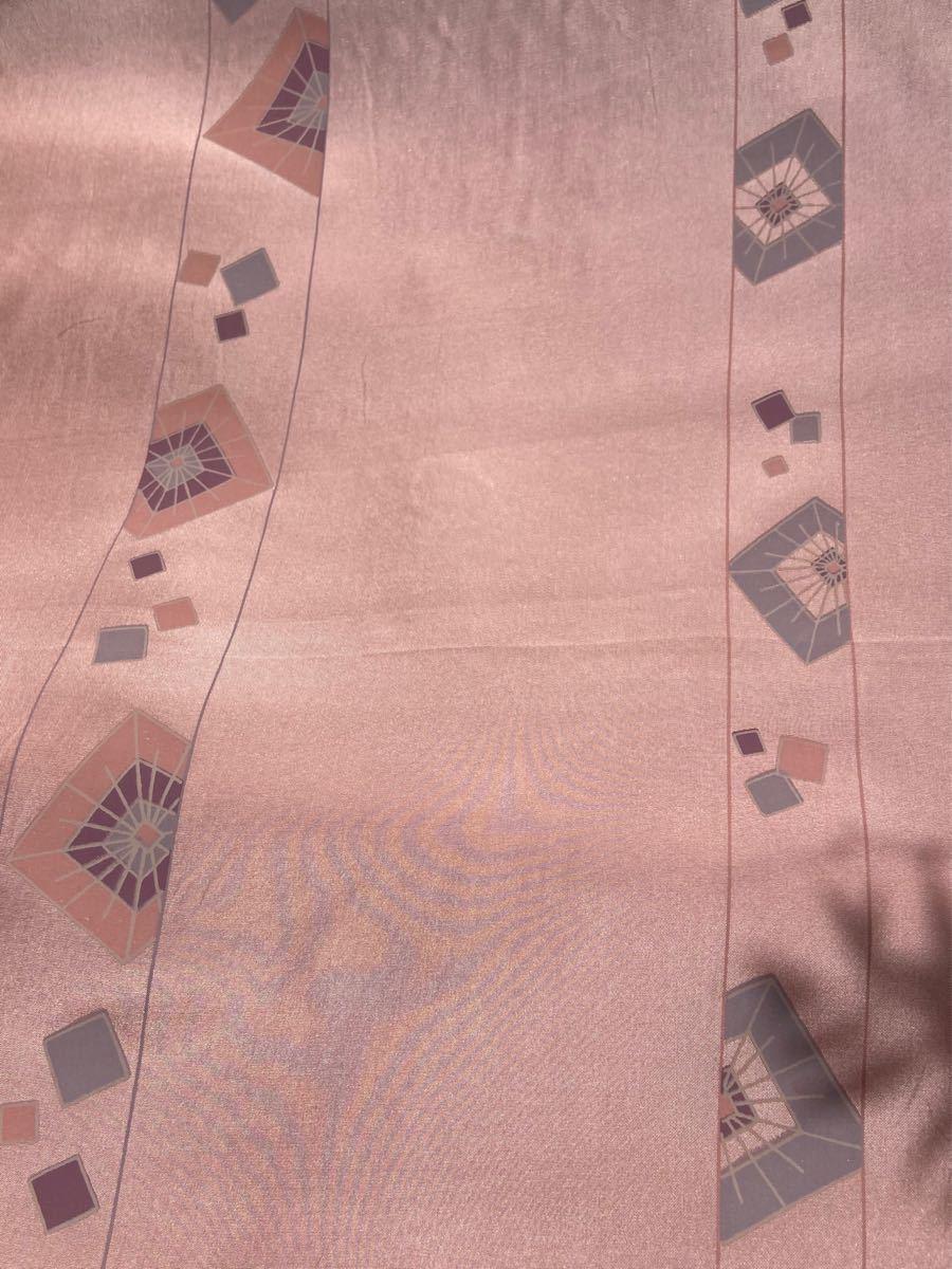シルク薄手 正絹 ピンク四角柄 1m