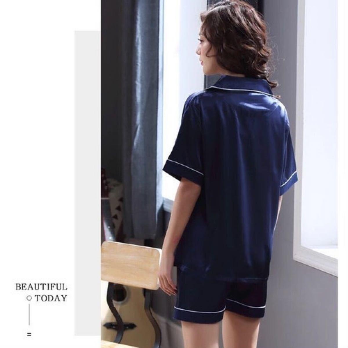 シャツパジャマ 半袖 シルクタッチ 涼感 ルームウェア 前開き ショートパンツ