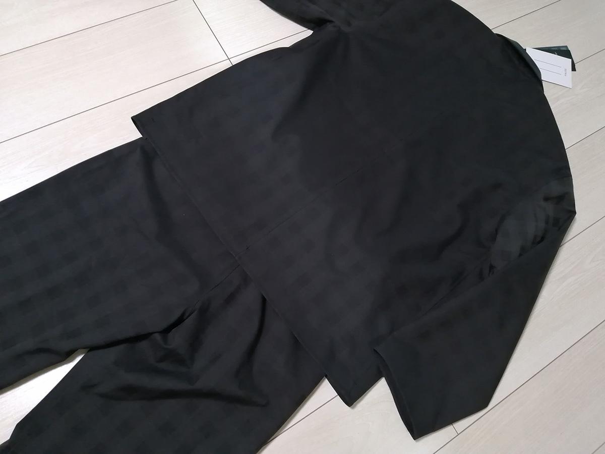 ◆新品 デサント ポーズ DESCENTE PAUSE グレンチェック ジャケット&パンツ 2B スーツ L 黒 定価62,700円 オーラリー AURALEE 送料無料