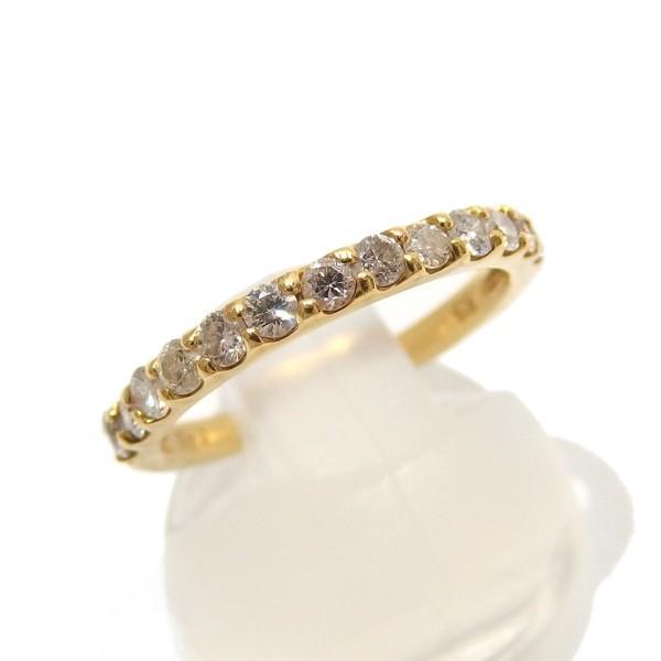 1円~★ハーフ エタニティリング K18 ダイヤモンド 0.43ct イエローゴールド 指輪★