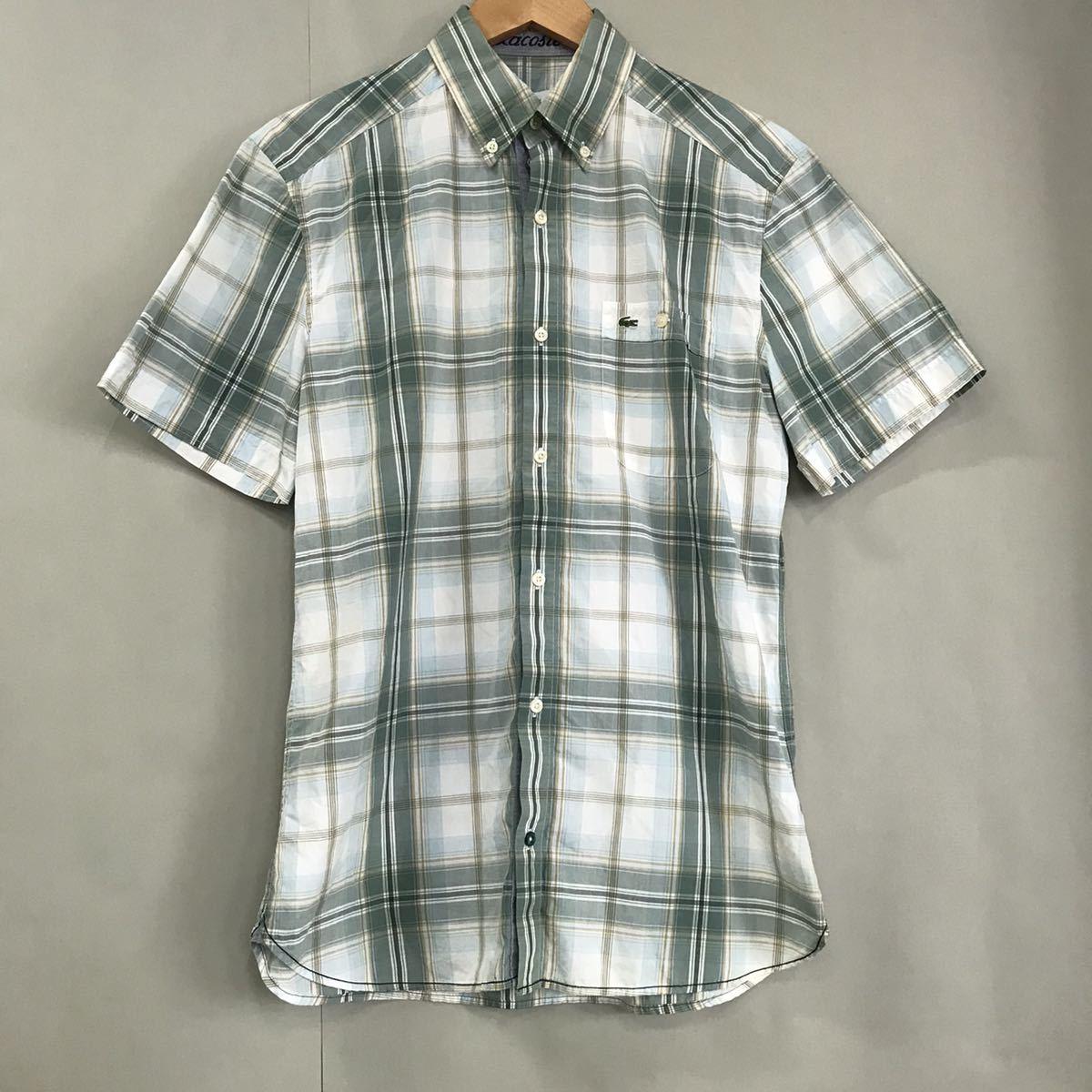ラコステ LACOSTE ボタンダウンシャツ スリムフィット 半袖 襟 チェック柄 グリーン ホワイト レディース 女性用 38サイズ ♭▽