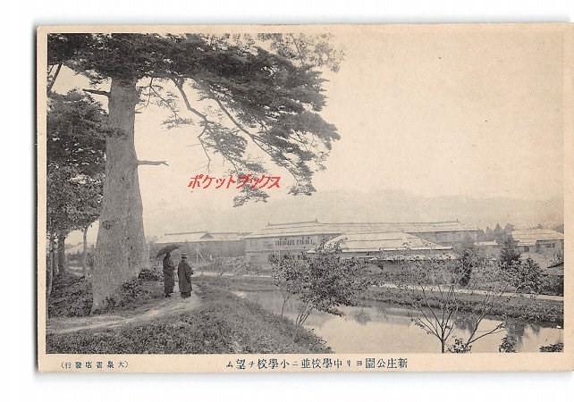 Xv4891 山形 新庄公園より中学校並に小学校を望む 【アンティーク絵葉書】_画像1