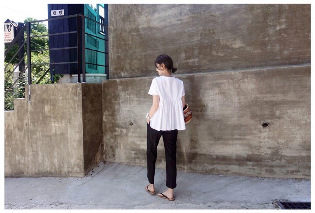 半袖 フォーマル シンプル レディース シャツ カットソー プリーツ 白 M
