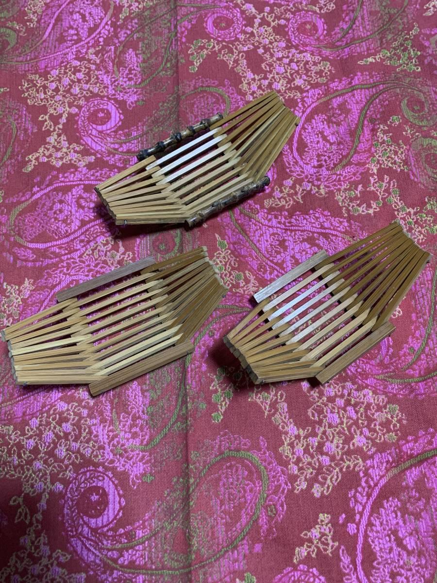【昭和レトロ】おしぼり置き 木製 3個セットで_画像1
