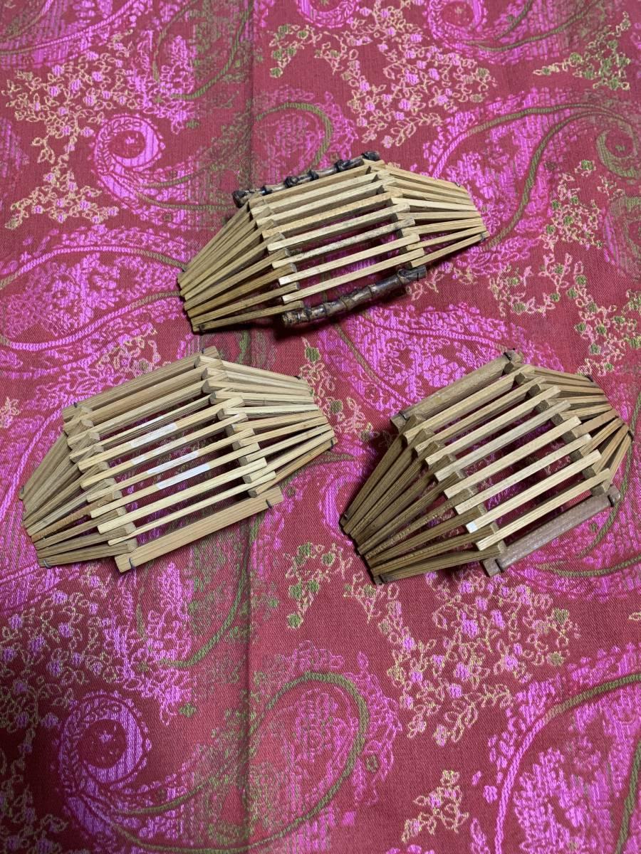 【昭和レトロ】おしぼり置き 木製 3個セットで_画像2