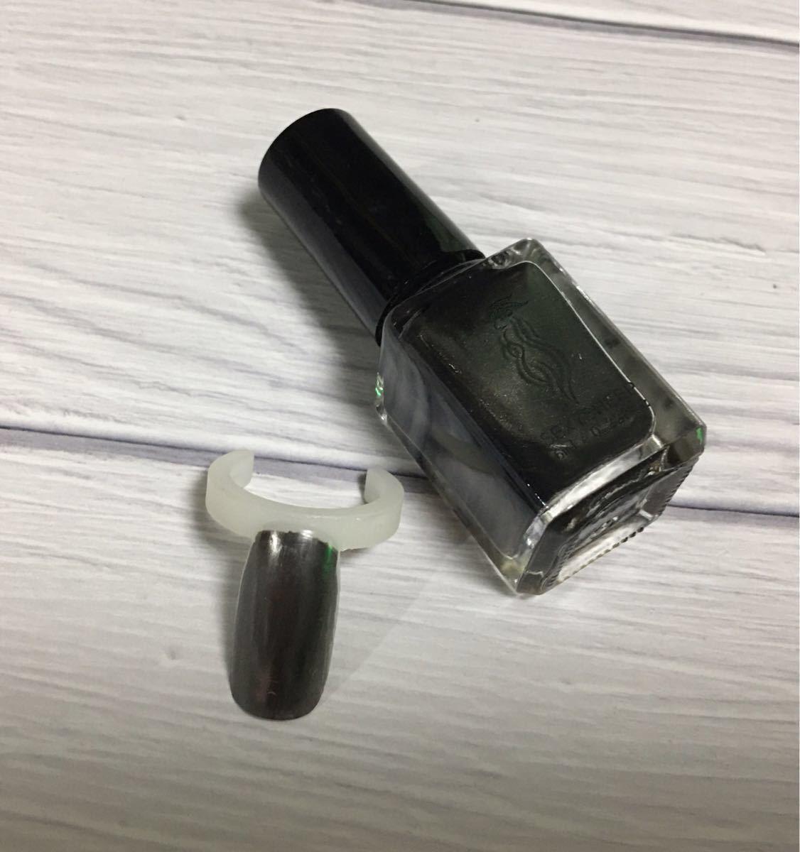 ミラーネイルポリッシュ マニキュア ブラック×2本