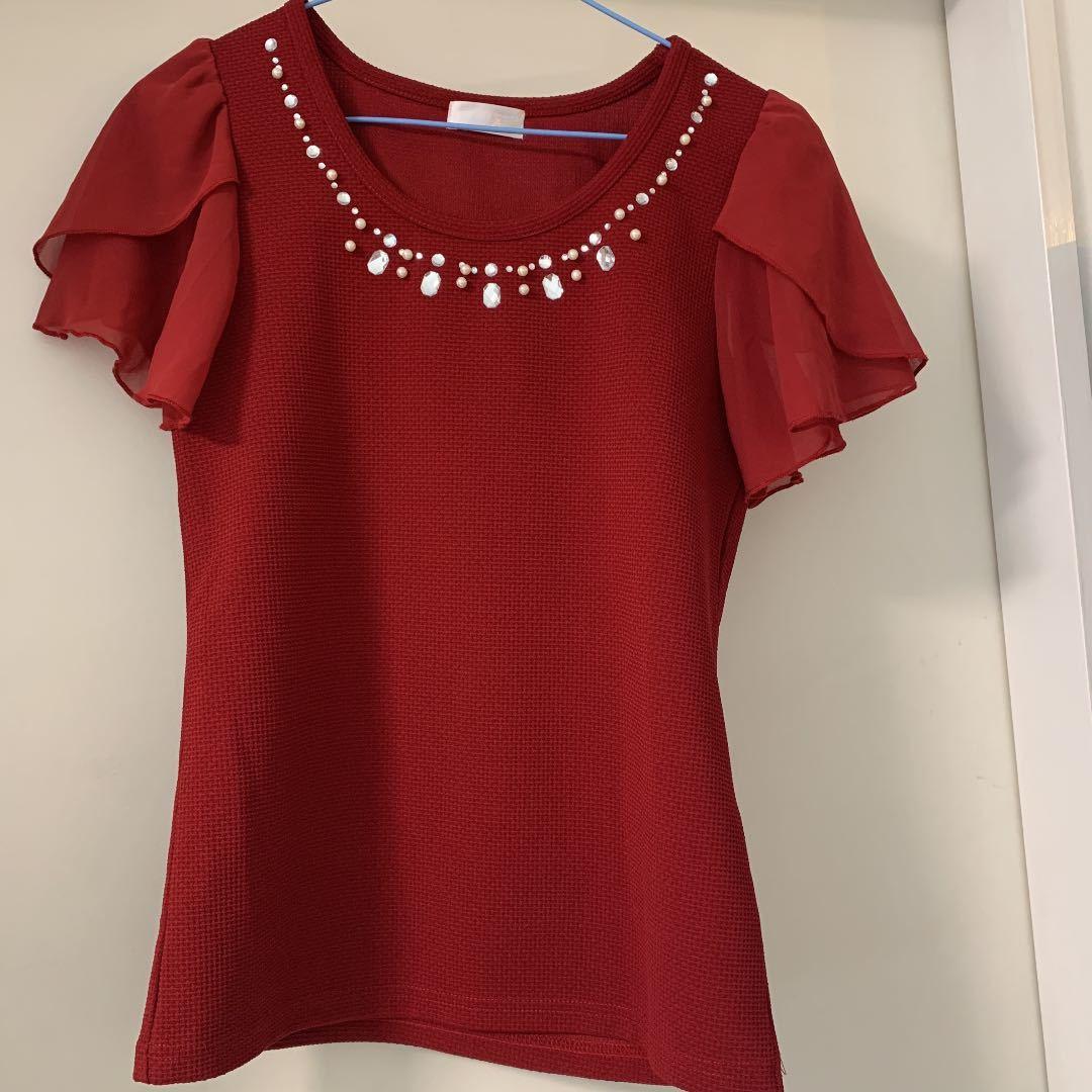 ビジュー赤トップス フリーサイズ半袖