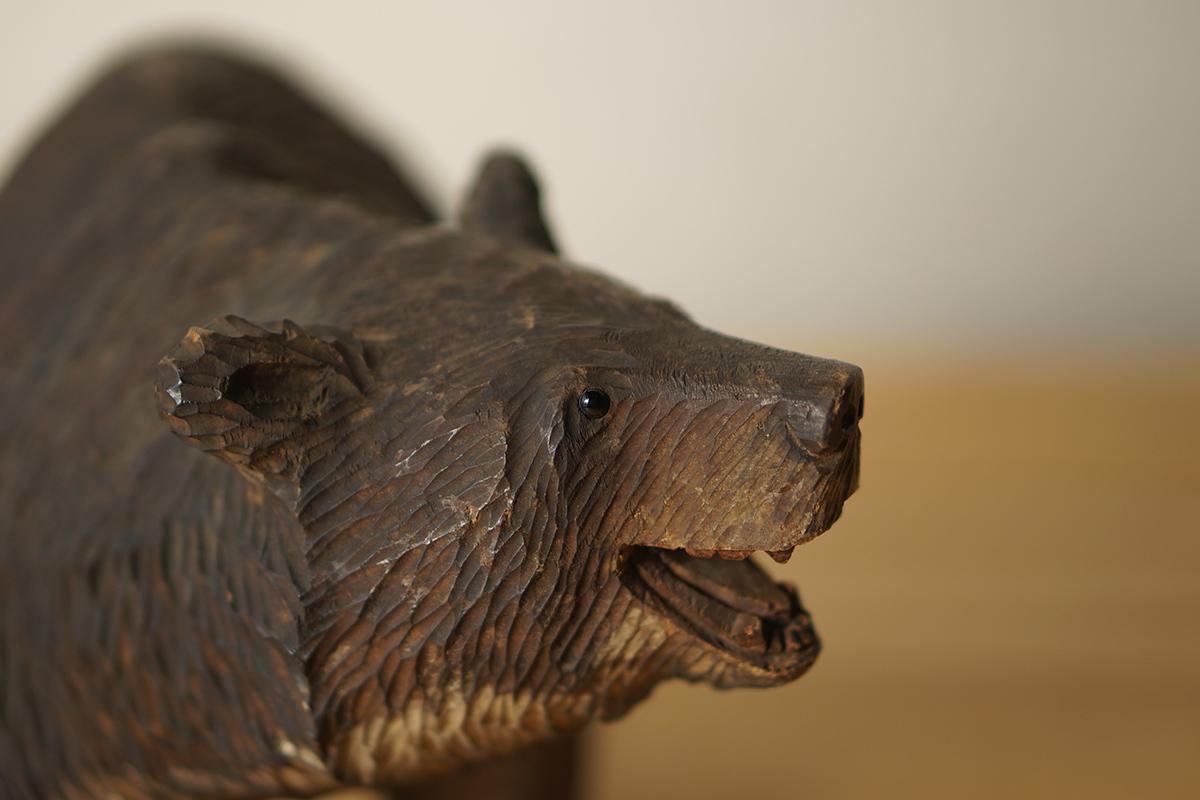 木彫りの熊 高さ約18.5cm ガラス目 [やくも/八雲][彫刻][アイヌ][置物][北海道][工芸品][民芸品]_画像2