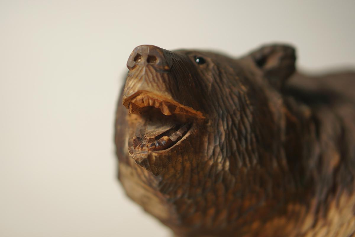 木彫りの熊 高さ約18.5cm ガラス目 [やくも/八雲][彫刻][アイヌ][置物][北海道][工芸品][民芸品]_画像3