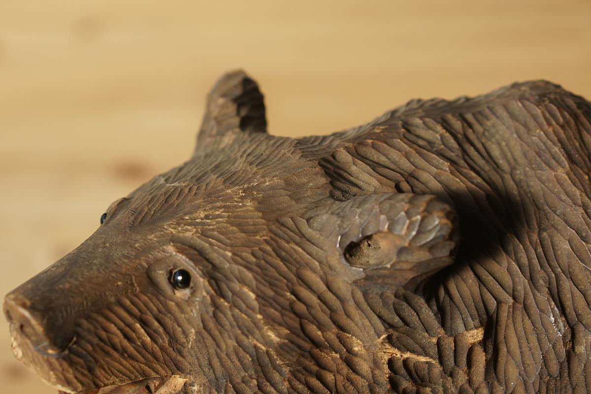 木彫りの熊 高さ約18.5cm ガラス目 [やくも/八雲][彫刻][アイヌ][置物][北海道][工芸品][民芸品]_画像4