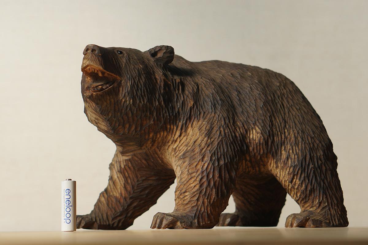 木彫りの熊 高さ約18.5cm ガラス目 [やくも/八雲][彫刻][アイヌ][置物][北海道][工芸品][民芸品]_画像7