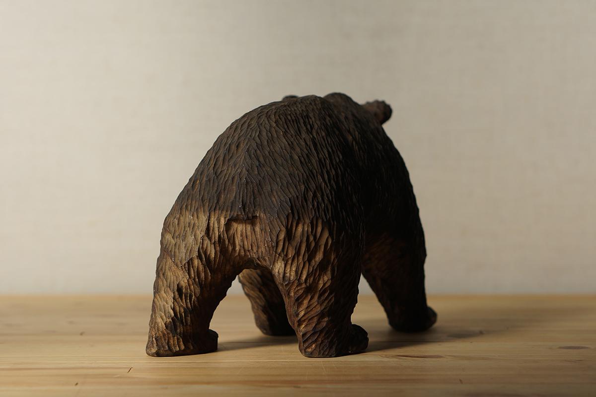 木彫りの熊 高さ約18.5cm ガラス目 [やくも/八雲][彫刻][アイヌ][置物][北海道][工芸品][民芸品]_画像8
