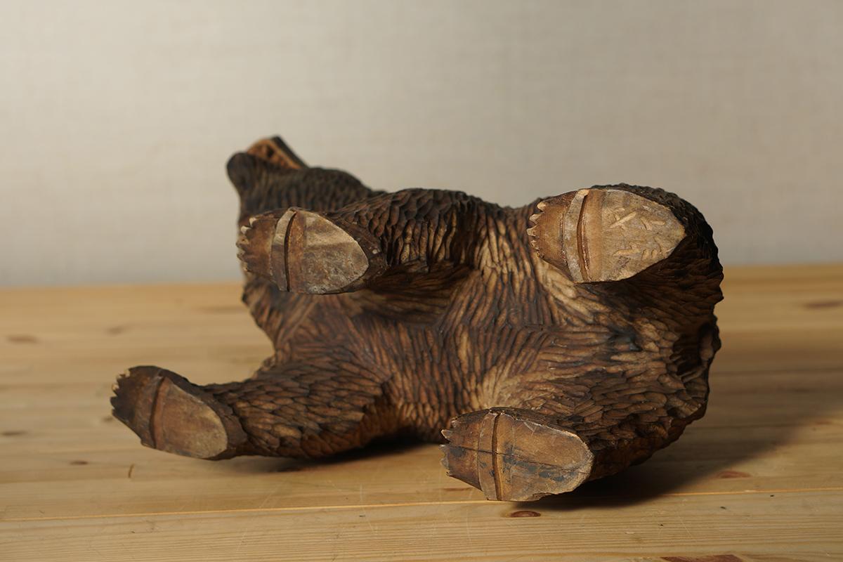 木彫りの熊 高さ約18.5cm ガラス目 [やくも/八雲][彫刻][アイヌ][置物][北海道][工芸品][民芸品]_画像9