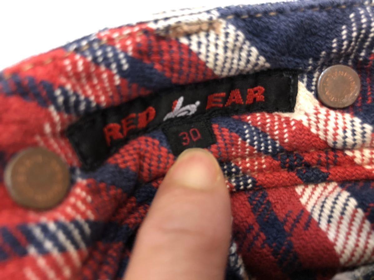 定価4万円ポールスミス レッドイヤーRED EARユーズド加工 フランネルライナー付き クラッシュデニム ペインターパンツ裏地チェックダメージ