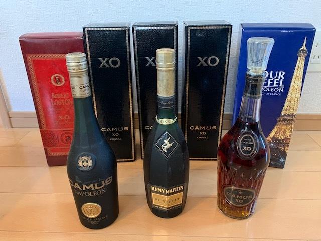 ★酒まとめ★コニャックなど8本まとめて CAMUS XO カミュXO ロングネック×4、NAPOLEON等 古酒