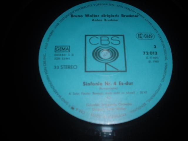独CBS S 77401 ワルター指揮/ブルックナー交響曲4・7・9番 青盤 3LPbox_画像3