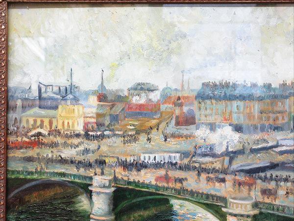 【ひょうたん】港町の風景画の油絵 F12号 肉筆 額装_画像3