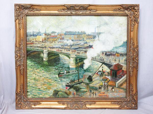 【ひょうたん】港町の風景画の油絵 F12号 肉筆 額装_画像1