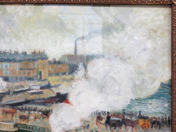 【ひょうたん】港町の風景画の油絵 F12号 肉筆 額装_画像4
