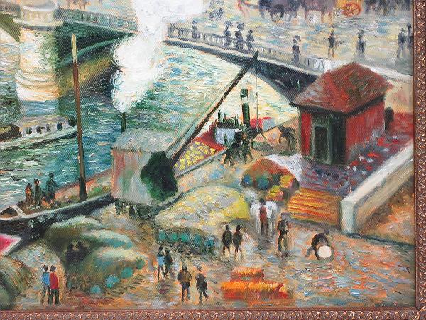 【ひょうたん】港町の風景画の油絵 F12号 肉筆 額装_画像6