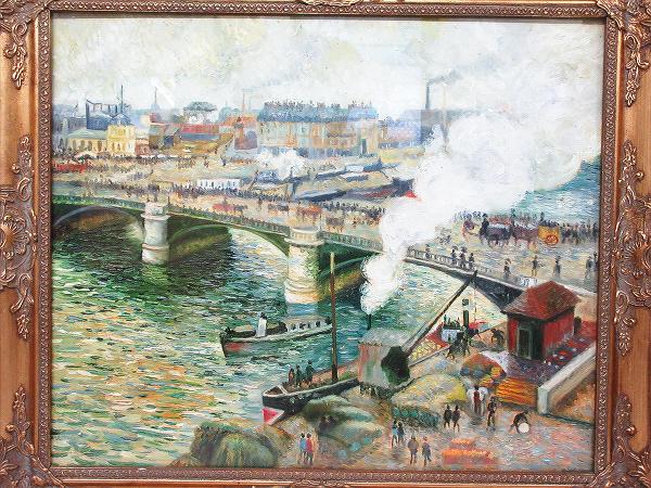 【ひょうたん】港町の風景画の油絵 F12号 肉筆 額装_画像2