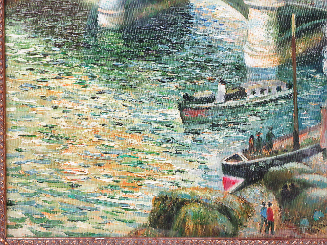 【ひょうたん】港町の風景画の油絵 F12号 肉筆 額装_画像5