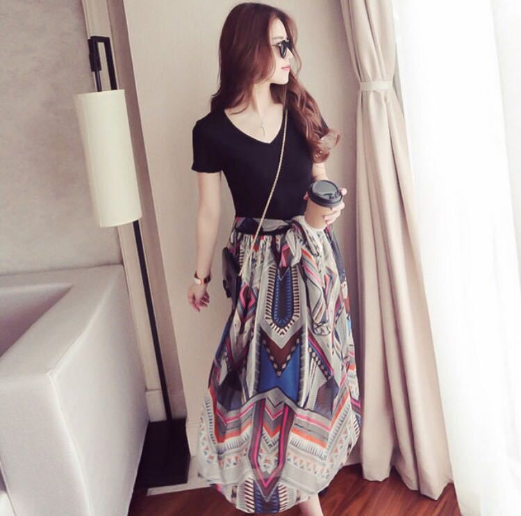 リゾートワンピース ふんわりシフォン エスニック柄ワンピース 韓国ファッション