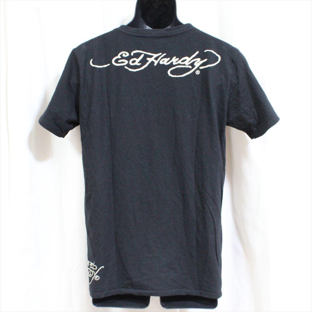 エドハーディー ED HARDY メンズ半袖VネックTシャツ ブラック Lサイズ 新品 黒_画像3