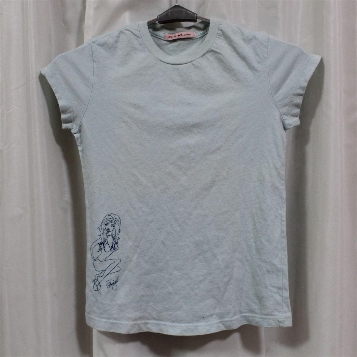 パメラアンダーソン Pamera Anderson レディース半袖Tシャツ ライトブルー Sサイズ アウトレット 新品_画像1