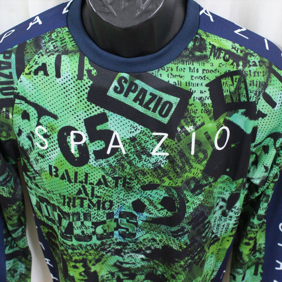 SPAZIO スパッツィオ メンズ長袖シャツ グリーン Oサイズ 新品 フットサル ロングスリーブ 吸水速乾 UVケア_画像2