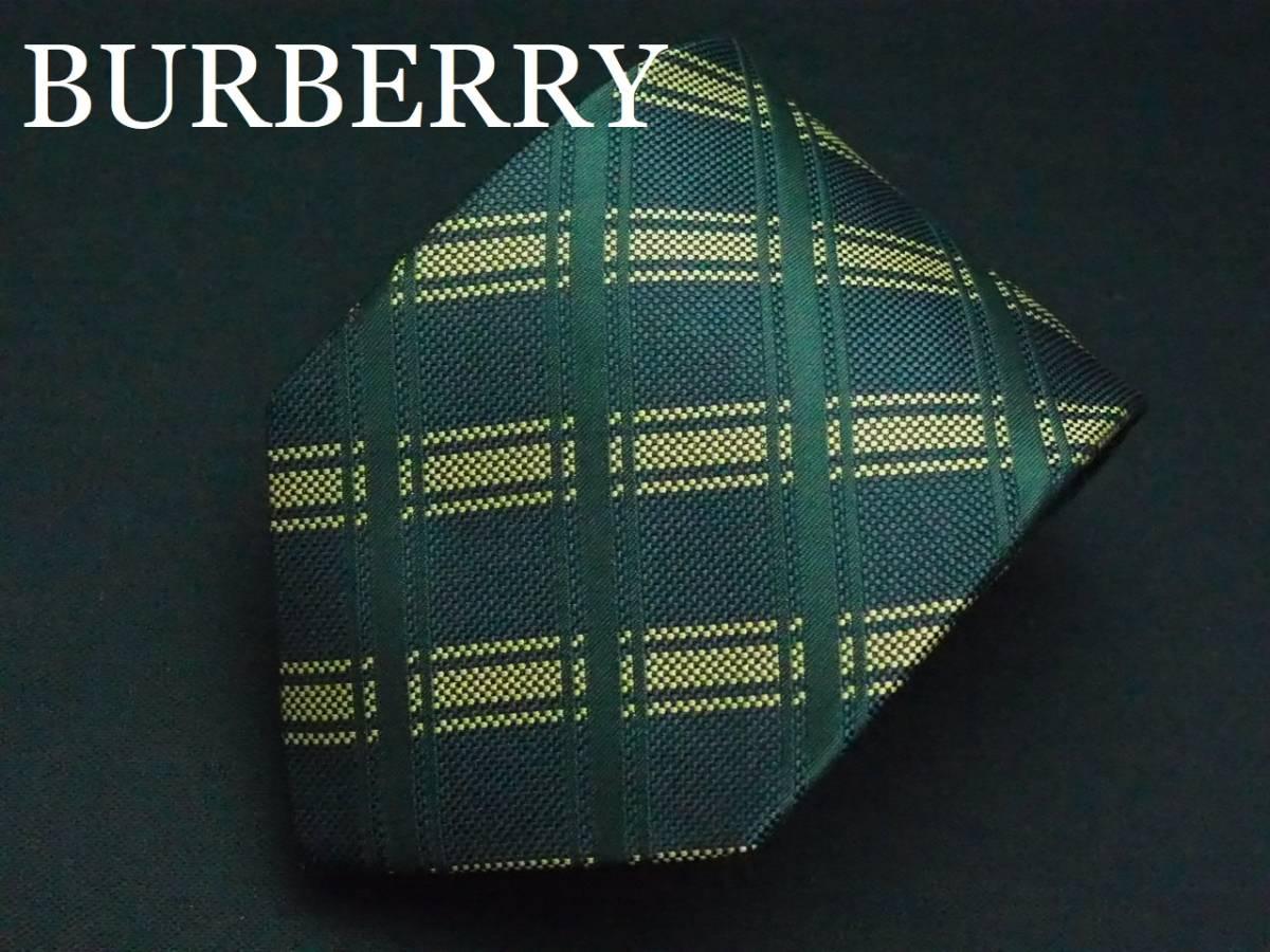 美品 BURBERRY バーバリー ITALY イタリア製【グリーン ゴールド チェック】ネクタイ USED オールド シルク_画像1