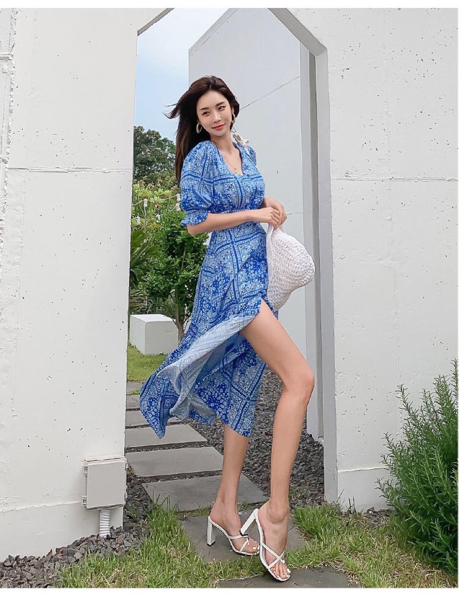 ワンピースドレス 花柄ワンピース カラードレス  ロング丈 c1109