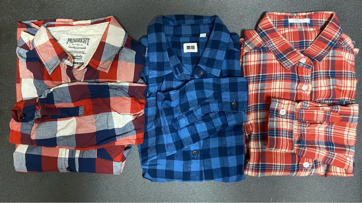 長袖シャツ チェックシャツ ネルシャツ チェック シャツ 3点セット