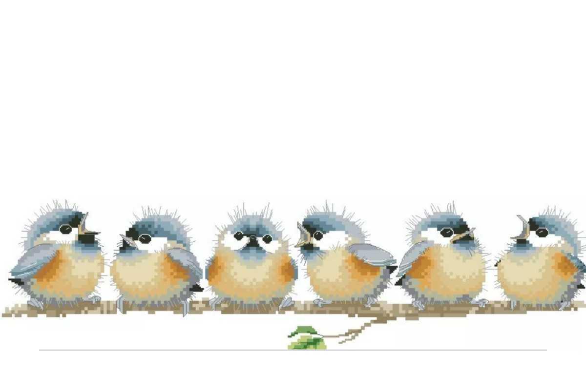クロスステッチキット◆小鳥のコーラス◆青い鳥◆かわいい海外輸入刺繍キット