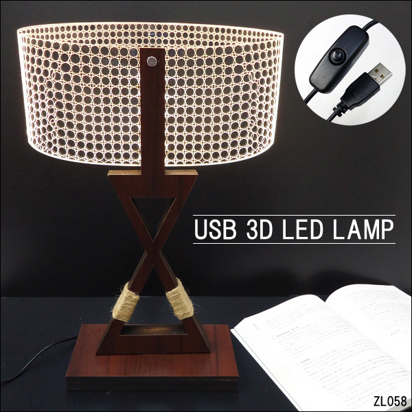 訳あり テーブルランプ USB電源【12332】LED 3Dアートランプ/10э_画像9
