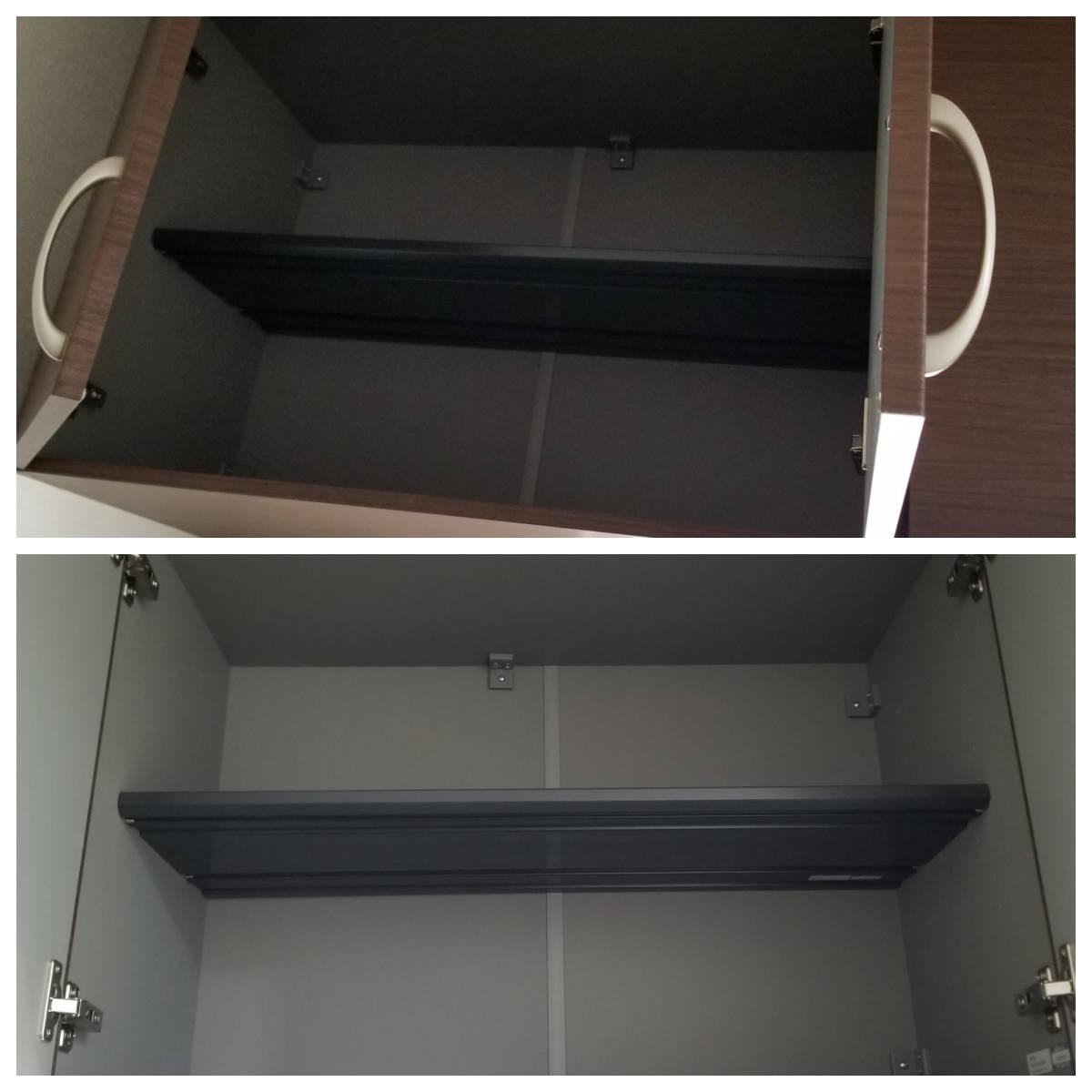 リフォーム訳あり 未使用シューズボックス 大建玄関収納 ブラウン木目 おしゃれ 設置後取り外し品 大容量_掃除しやすい 棚板はプラスチック製です。